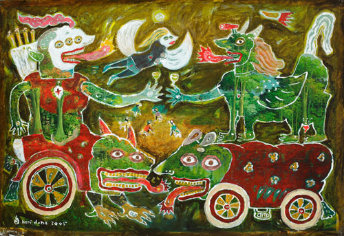 Heri Dono, Harvest the Land II (2005), acrylic on traditional painting, 63.5 x 93cm