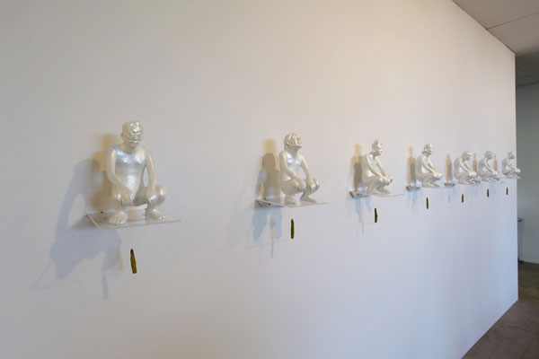 Heri Dono, Agent of Change (2009), fibreglass, acrylic, enamel, nylon, wood 7 pieces, 26 x 14 x 14cm each, installation view