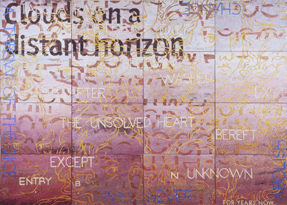 Imants Tillers, Nature Speaks: BN (2009), acrylic and gouache on 16 canvas boards, 102 x 143cm