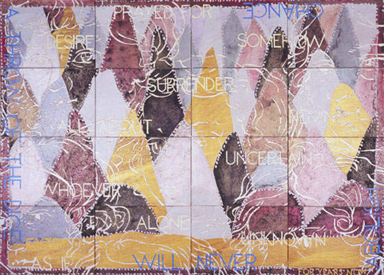 Imants Tillers, Nature Speaks: BL (2009), acrylic and gouache on 16 canvas boards 102 x 143cm