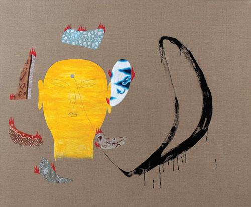 Dadang Christanto, Batik Has Been Burnt #7 (2007), acrylic on Belgium linen, 137 x 167cm