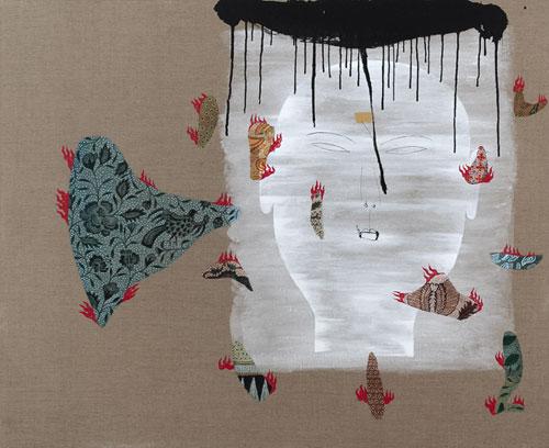 Dadang Christanto, Batik Has Been Burnt #6 (2007), acrylic on Belgium linen, 137 x 167cm