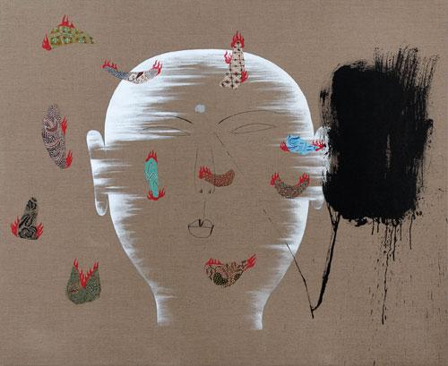 Dadang Christanto, Batik Has Been Burnt #5 (2007), acrylic on Belgium linen, 137 x 167cm