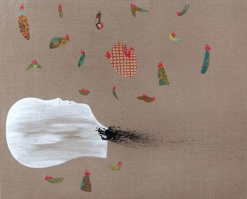 Daniel Mafe, Batik Has Been Burnt #2 (2007), acrylic on Belgium linen, 137 x 167cm