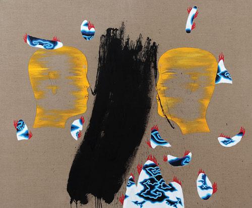 Dadang Christanto, Batik Has Been Burnt #1 (2007), acrylic on Belgium linen, 137 x 167cm