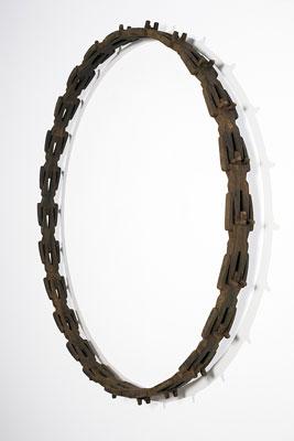 Stephen Hart, Circuit (2008), Patinated timber, 125 x 125 x 13cm