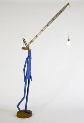 Stephen Hart, Frank Follows the Light (2008), carved and polychromed timber, 250 x 120 x 38cm