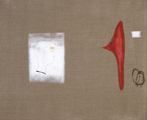 Dadang Christanto, Head with Gold in Dialogue #1 (2007), acrylic on Belgium linen, 84 x 102cm