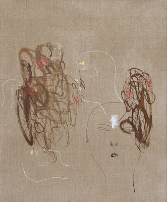 Dadang Christanto, Head with Gold and Silver (2007), acrylic on Belgium linen, 102 x 84cm