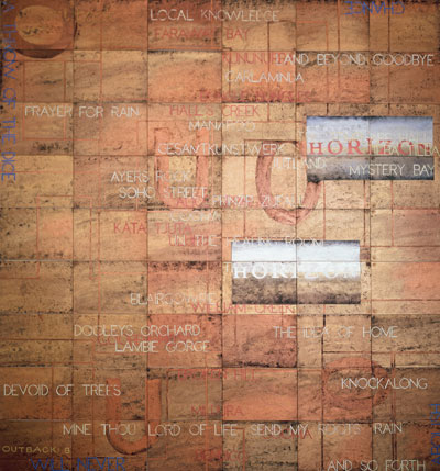 Imants Tillers, Outback: B (2006), acrylic and gouache on 54 canvas boards, 228 x 213cm