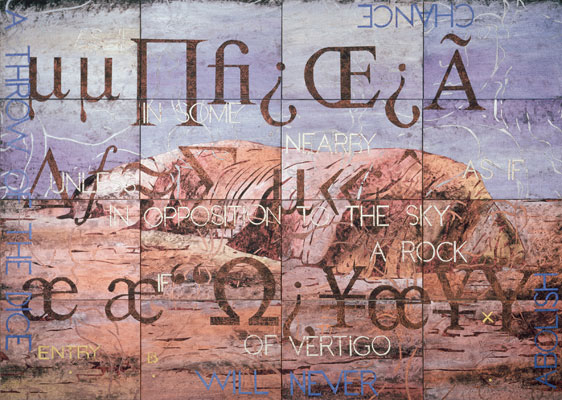 Imants Tillers, Nature Speaks: BX (2005), acrylic and gouache on 16 canvas boards, 110 x 142cm