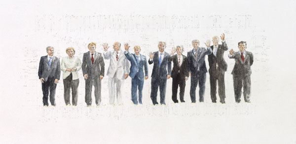 Stephen Hart, World Leaders (2006), pencil and watercolour, 33.5 x 51cm framed
