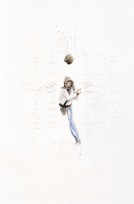 Stephen Hart, Boy Running (2006), pencil and watercolour, 55 x 33.5cm framed