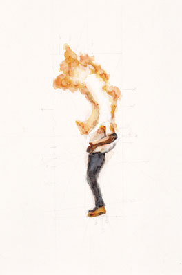 Stephen Hart, Man on Fire (2006), pencil and watercolour, 55 x 33.5cm framed