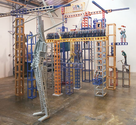 Stephen Hart, Wild Blue Yonder (2006), hand carved timber and render, Installation view