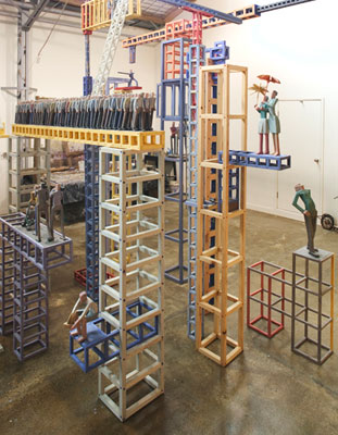Stephen Hart, Wild Blue Yonder (2006) (detail), hand carved timber and render, Installation view