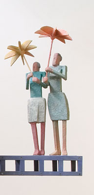 Stephen Hart, Two Ladies (2006) (from the Wild Blue Yonder series), hand carved timber and render, Bronze version also available, edition of 5