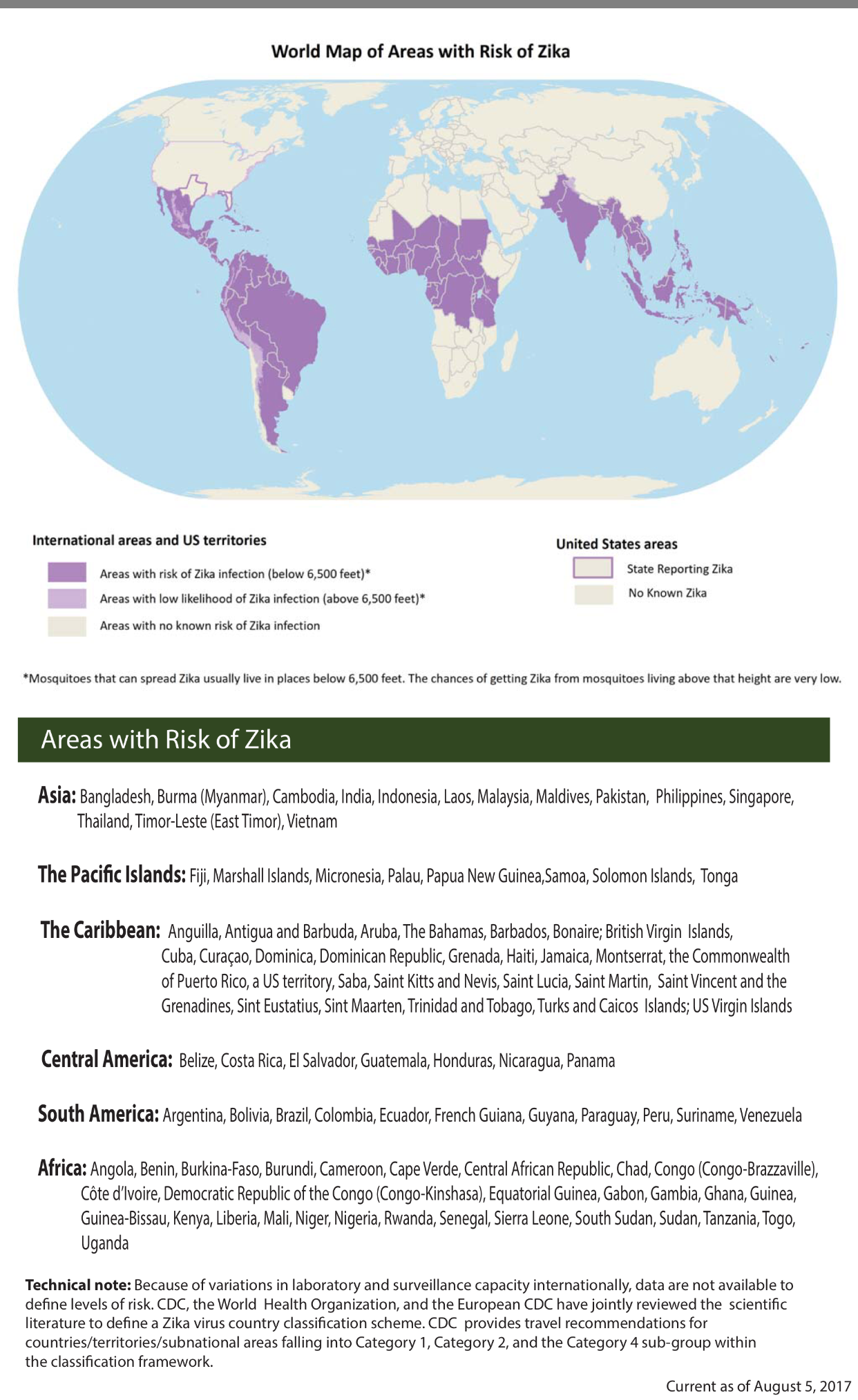 World Map of Areas with Risk of Zika