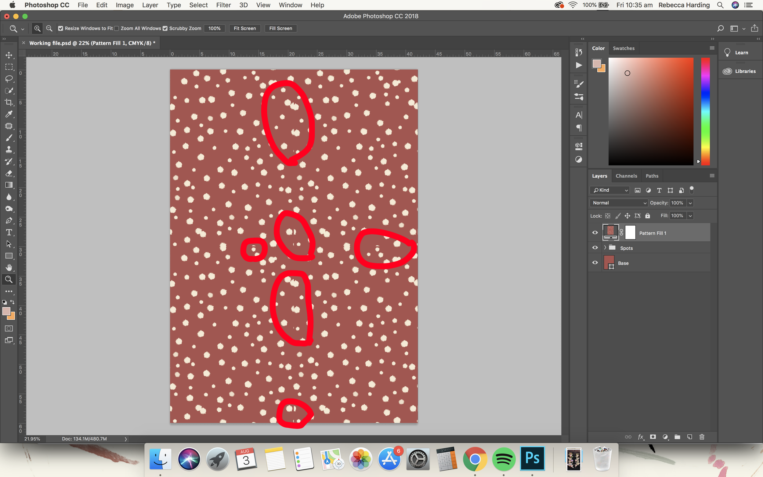 I have circled the areas where it is visibly not seamless.