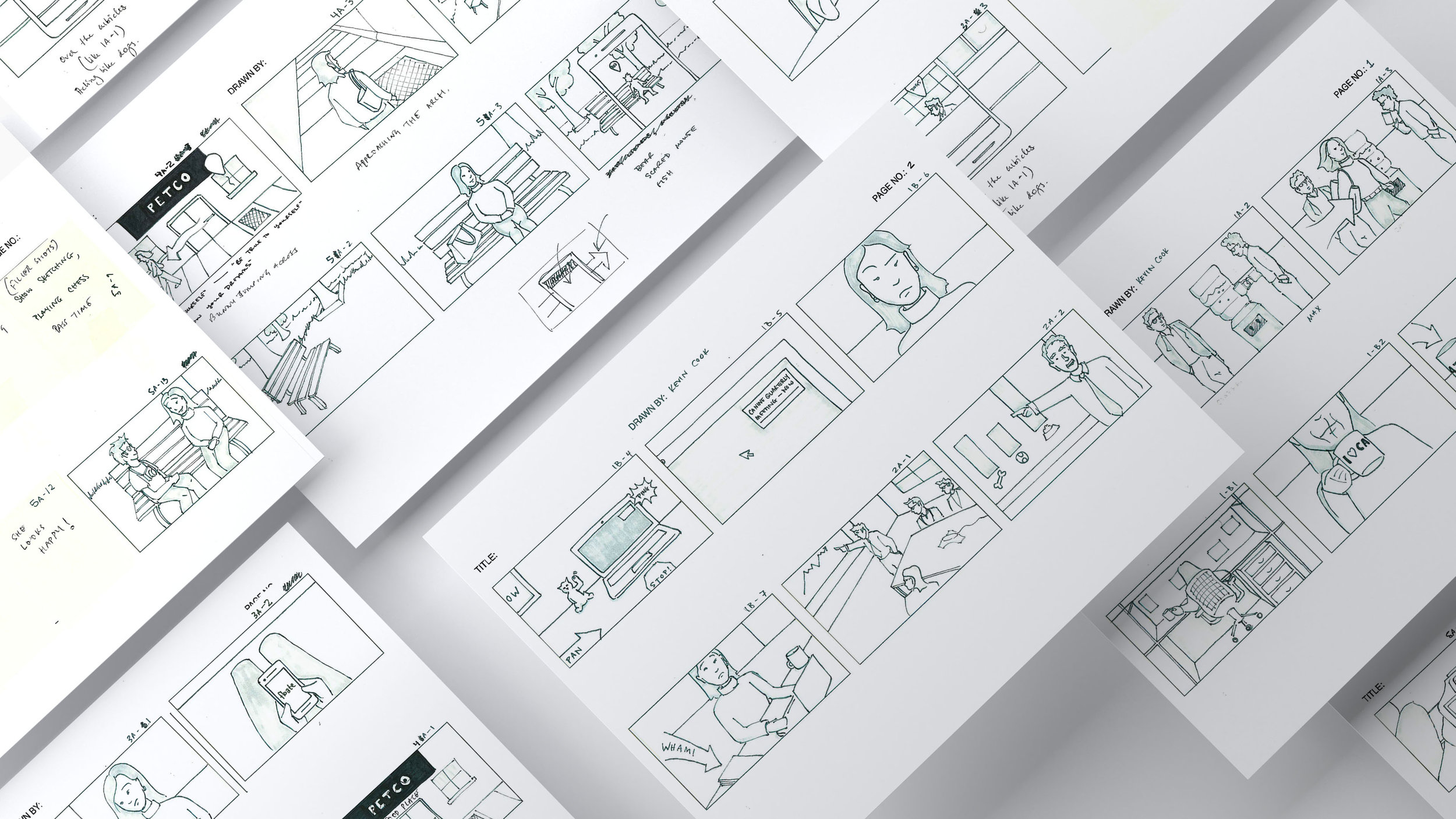 Storyboards sketched by Kevin Cook