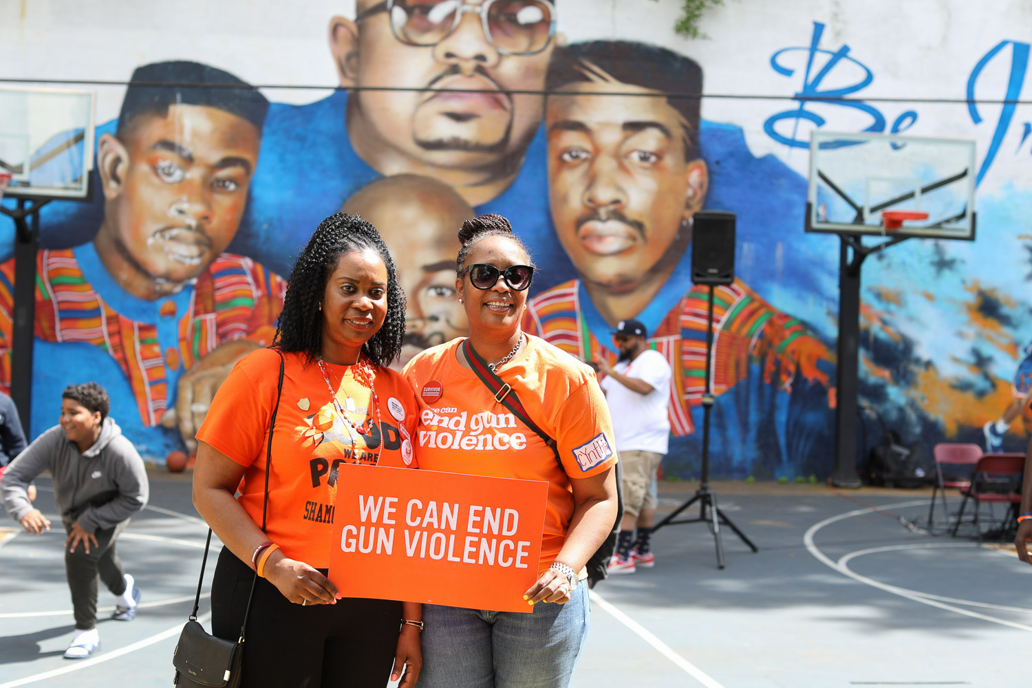 Nadine McKenzie and Cynthia Turnquest-Jones Stand Together At The Moms Demand Action for Gun Sense in America Gun, Violence Awareness Week at Heavy D Memorial Park in Mount Vernon June 9, 2019. Photography by Tyrone Z. McCants / Zire Photography