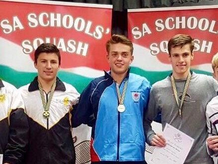 Reece McLachlan  (middle) represented Northerns at the South African Schools Squash Tournament. He placed fourth overall in the under 16 division.