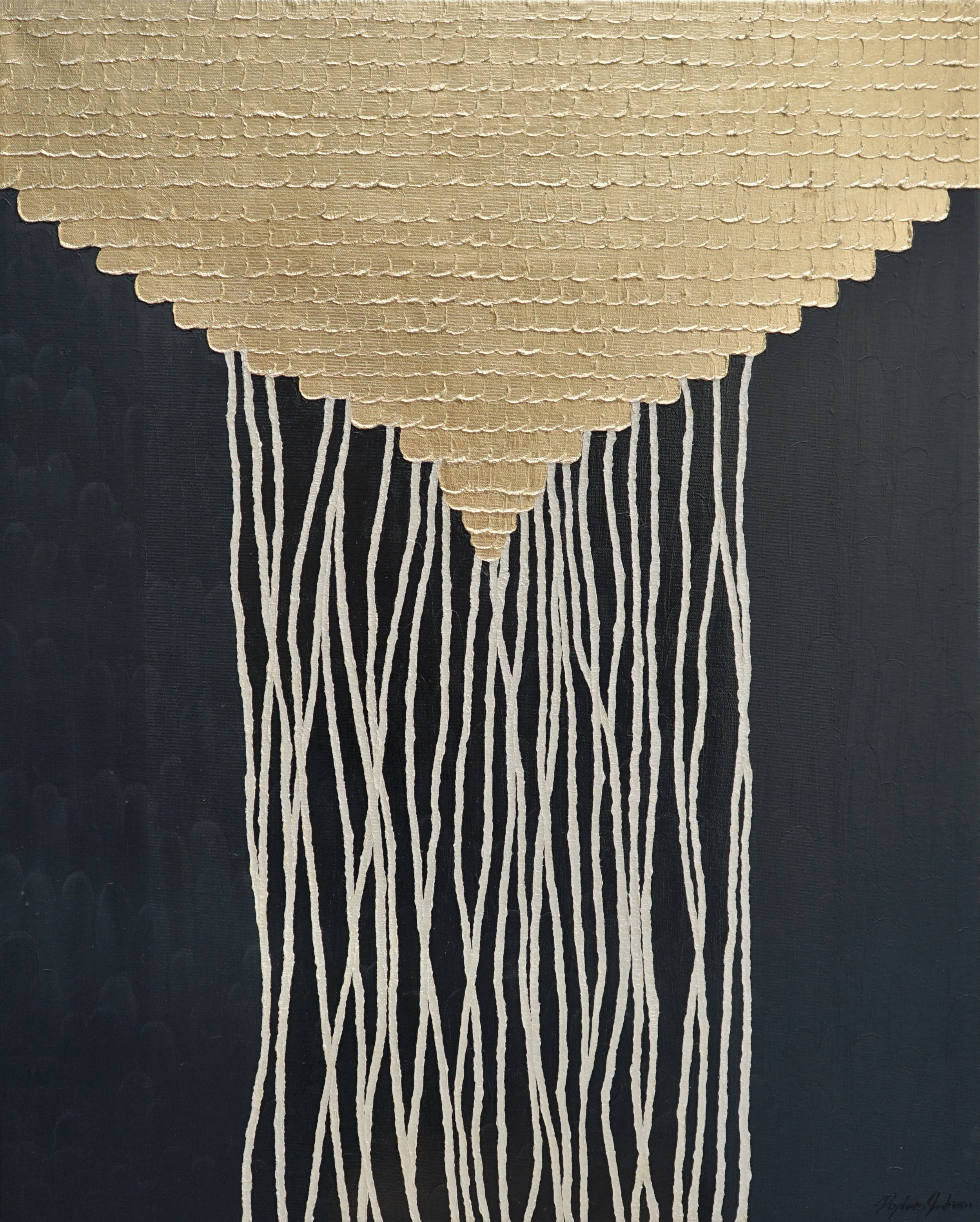 Lizzie's Rings 100 x 80 cm Mother of pearl & oil on canvas   Available To View 19,000 Sek