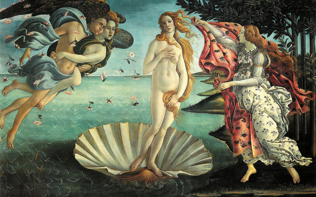 Botticelli's  Birth of Venus  painted between 1477 and 1478 for Giovanni and Lorenzo de' Medici