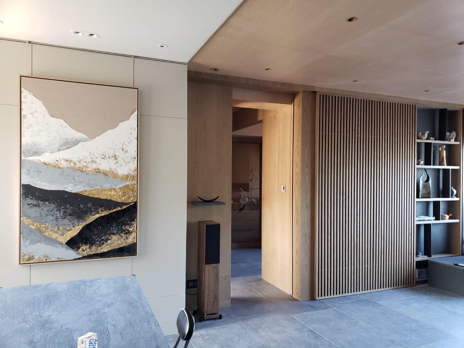 This commissioned painting, now installed in a new Hong Kong home, was based on  Looking West in Winter  by Chelsea Davine