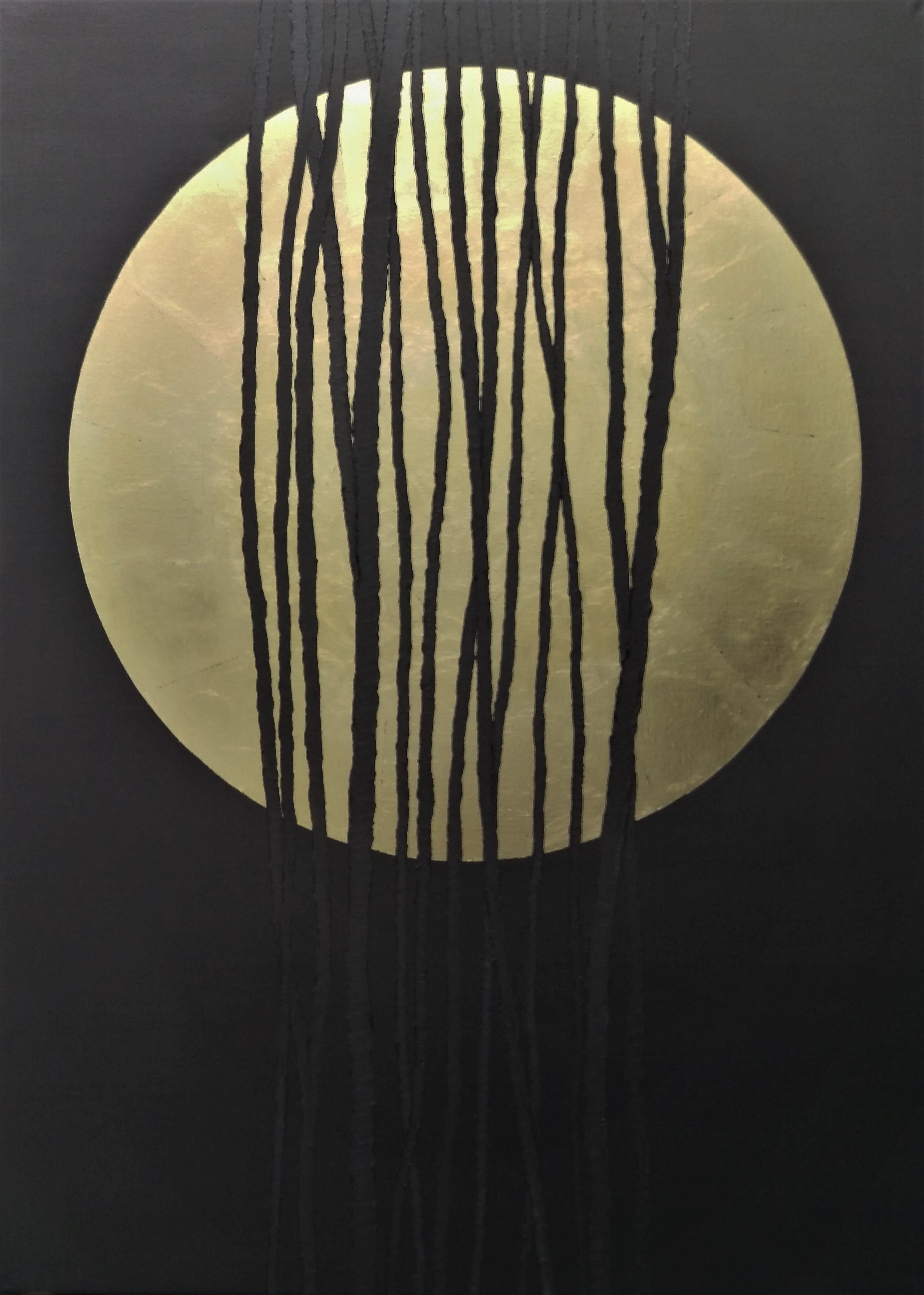 Graphite Moon 100 x 140 cm  Gold Leaf & oil on linen   Available To View 15,000 Sek