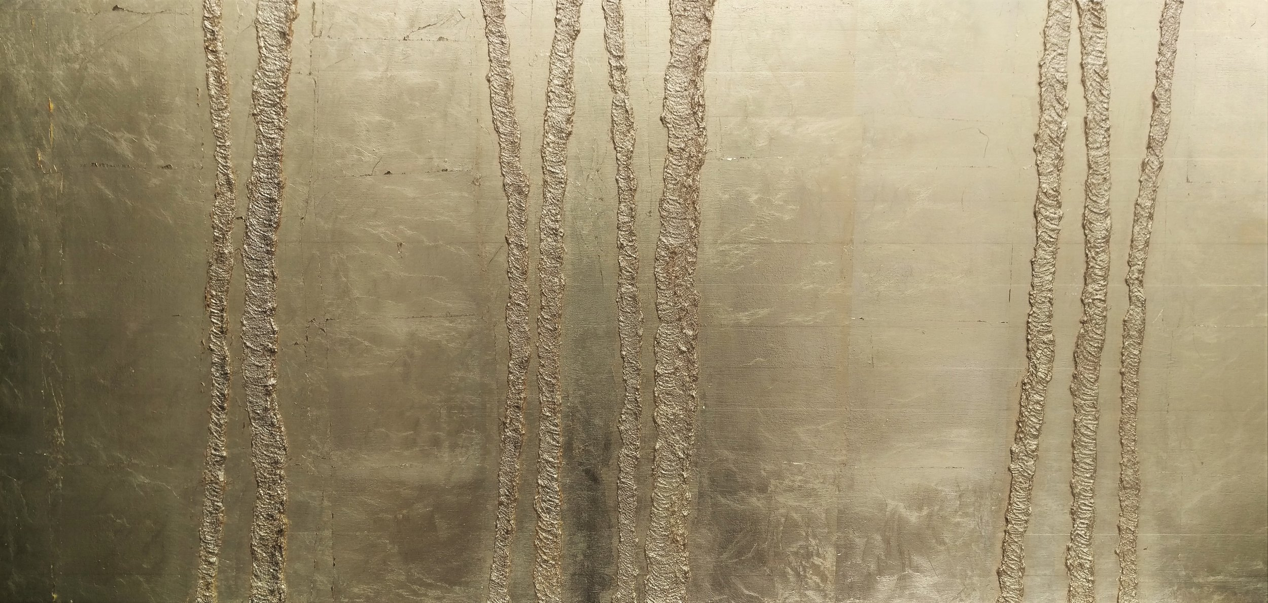 Enlightened Forest  60 x 140 cm       Gold metallic leaf, linseed oil on birch panel   Available To View 12,000 Sek
