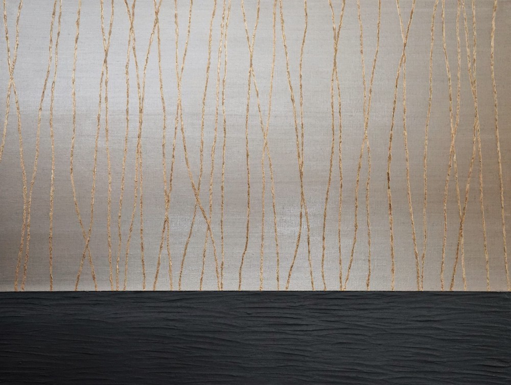 Gold Lightfalls  89 x 116 cm       Oil,gold, graphite oil & structure paste on linen canvas   Available To View 12,500 Sek