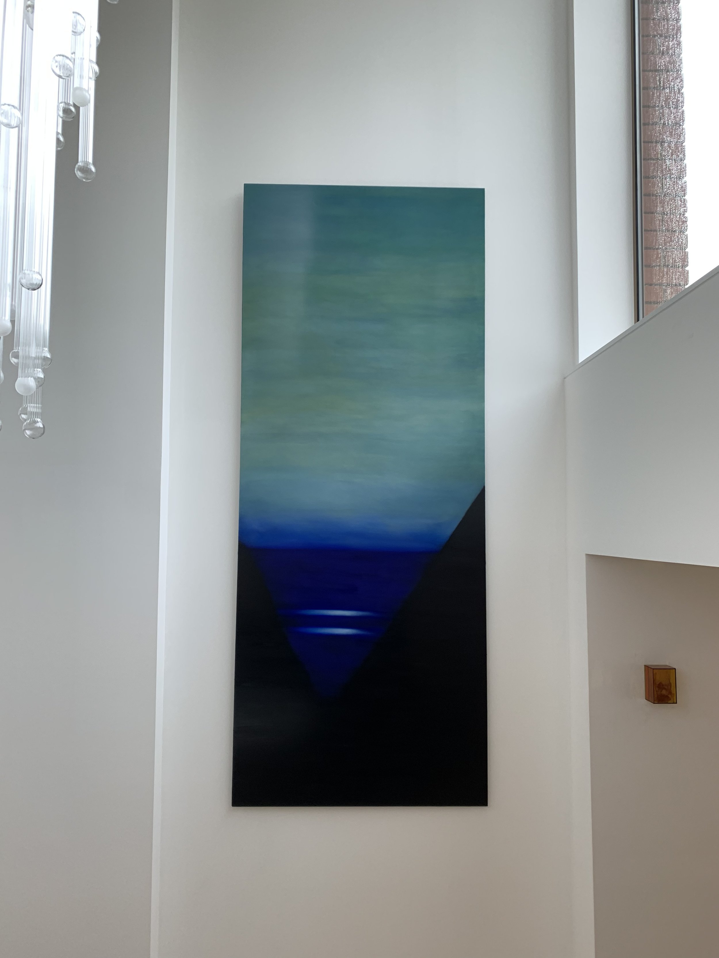 Lightscape commission in a clients home In north London, England, 2019  250 x 80 cm  Oil on Aluminium