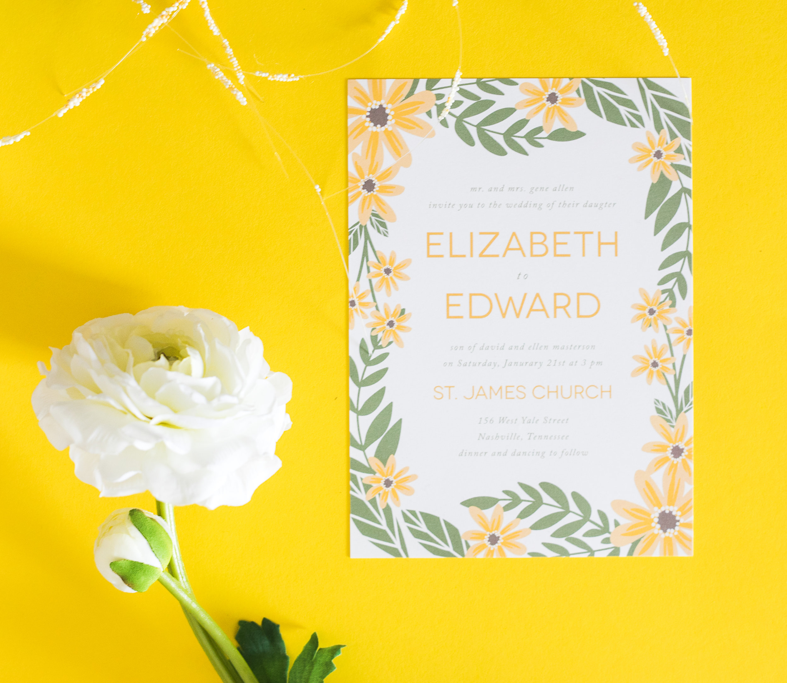Basic Invite Yellow Floral Invitation