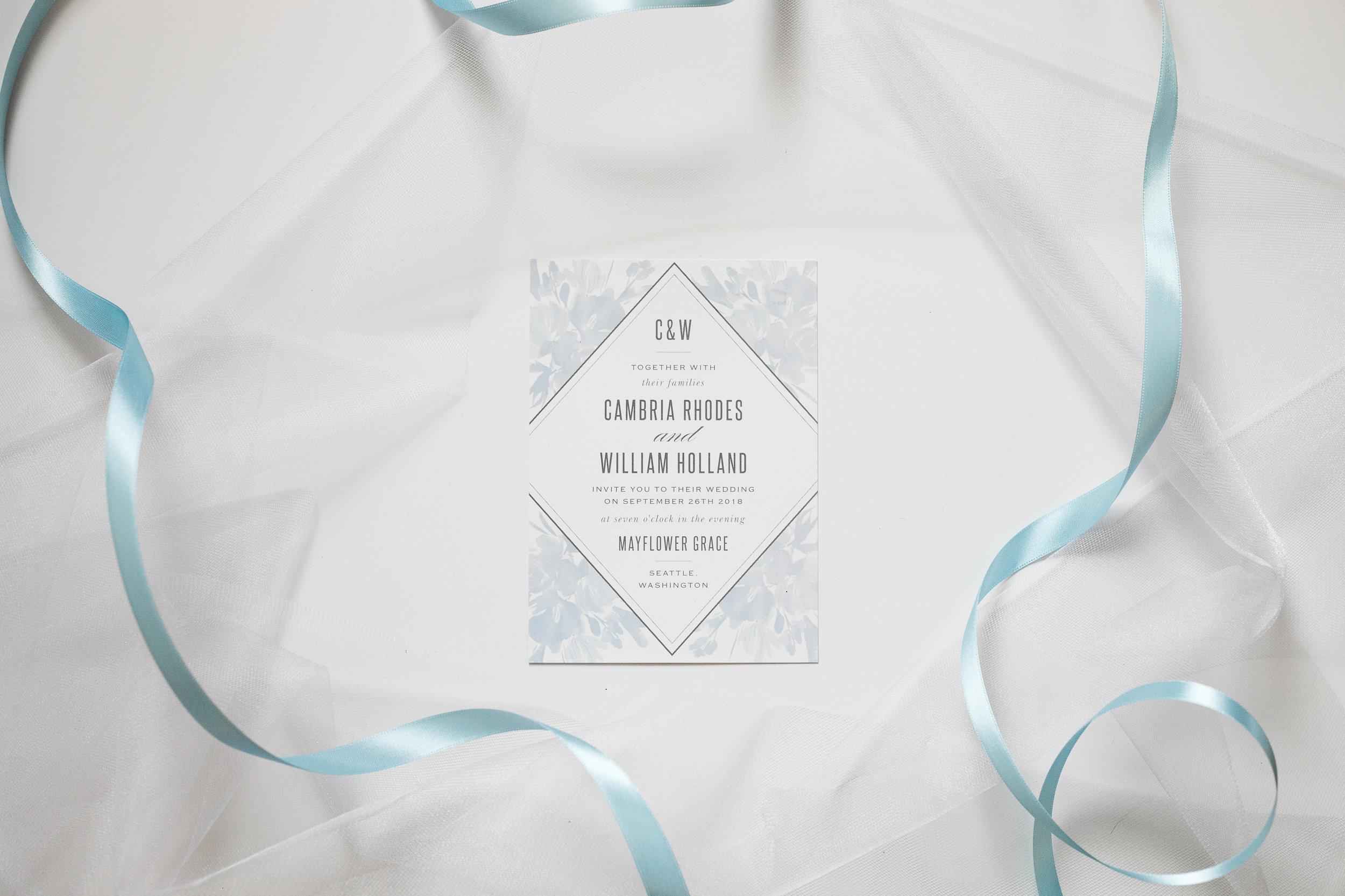 Basic Invite Baby Blue Wedding Invitation