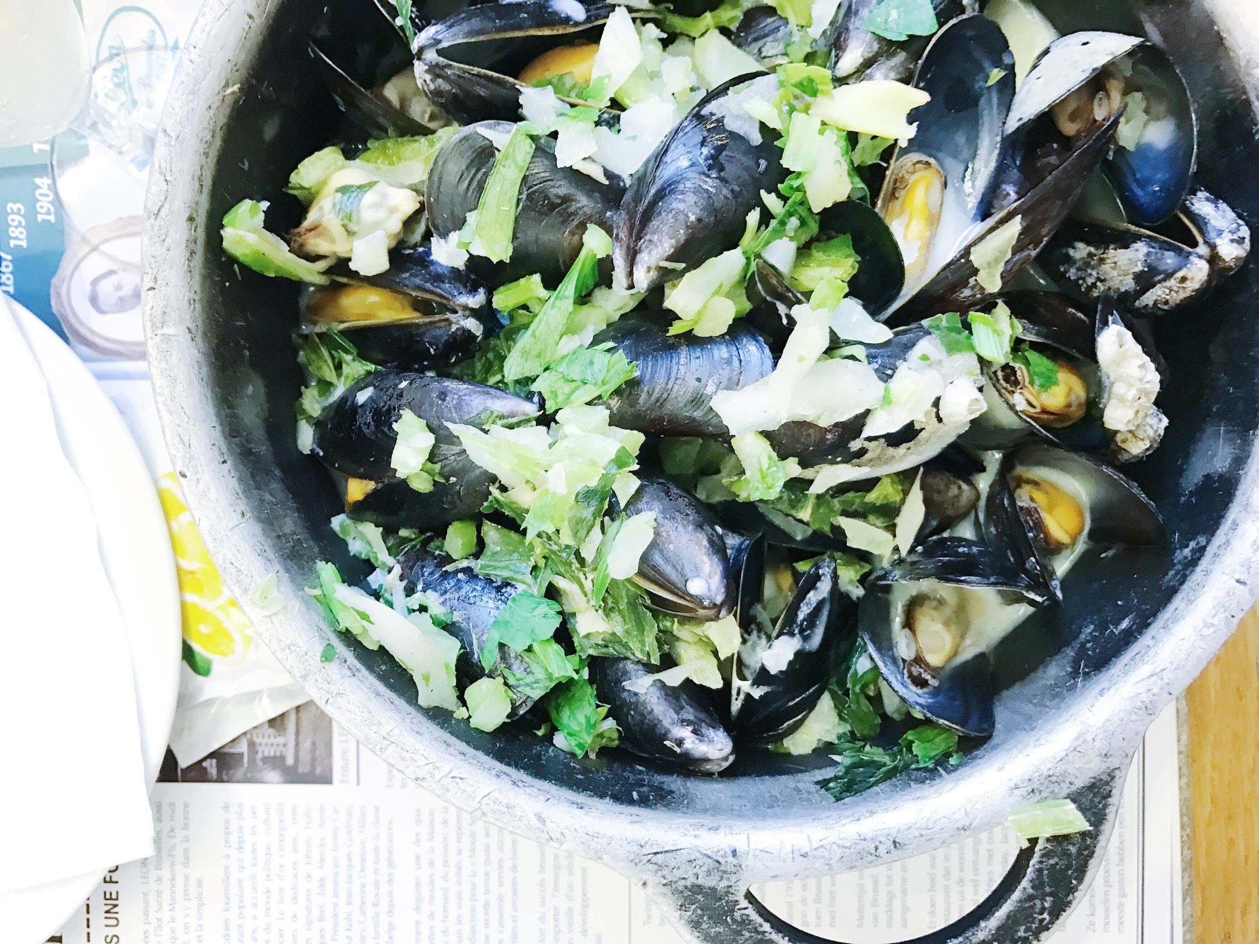 Mussels à la crème.