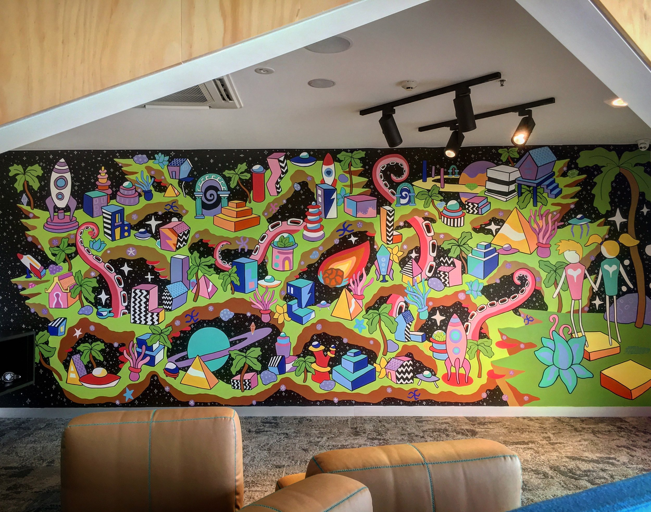The completed Skyworld mural at Aldinga Library (which was still under construction at this stage).