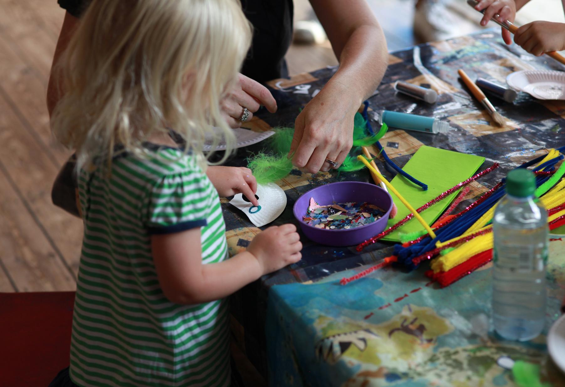 Parrot-mask making workshop in Teddington