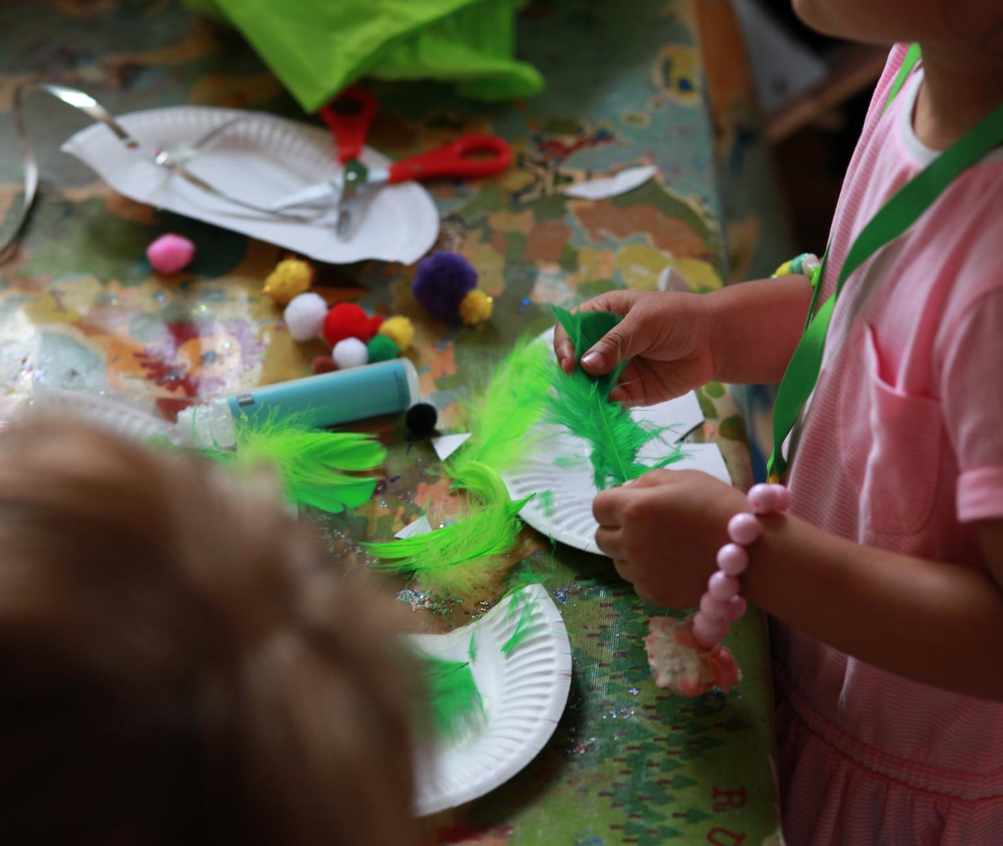 Parrot mask making workshop, in Teddington