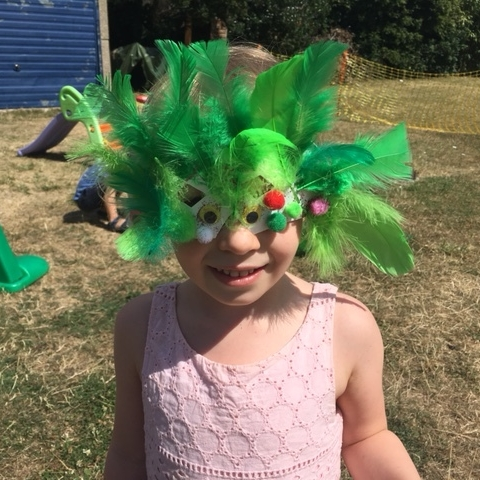 Pretty parrot mask, by Molly