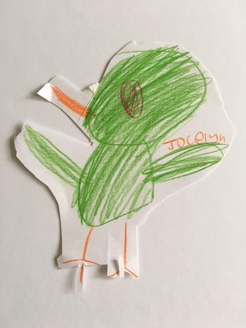 Green cut out parakeet, by Jocelyn