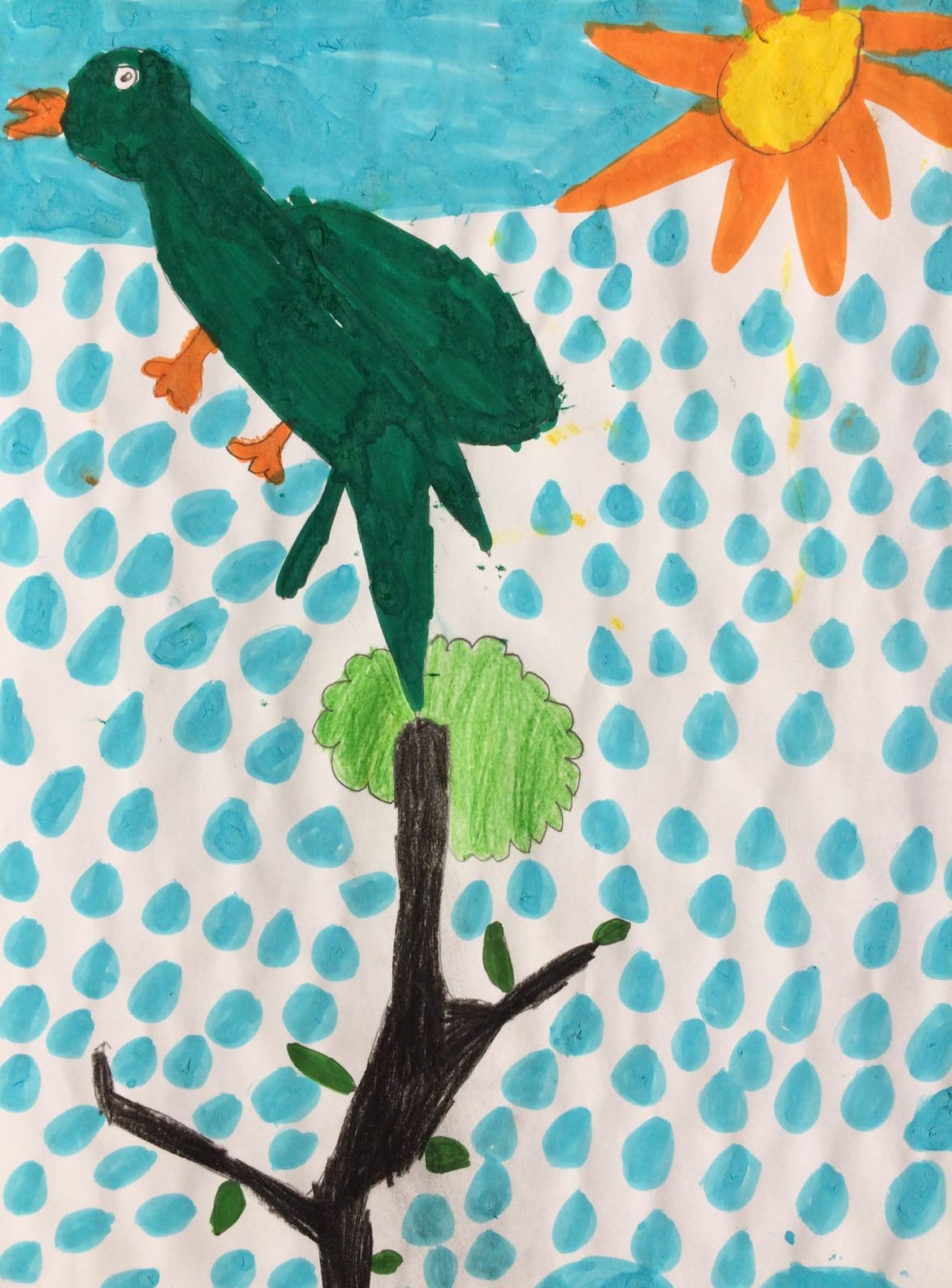 Parakeet on a tree, by Teo