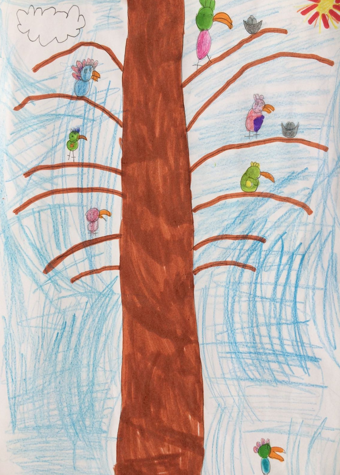 Lots of birds on a tree, by Milly