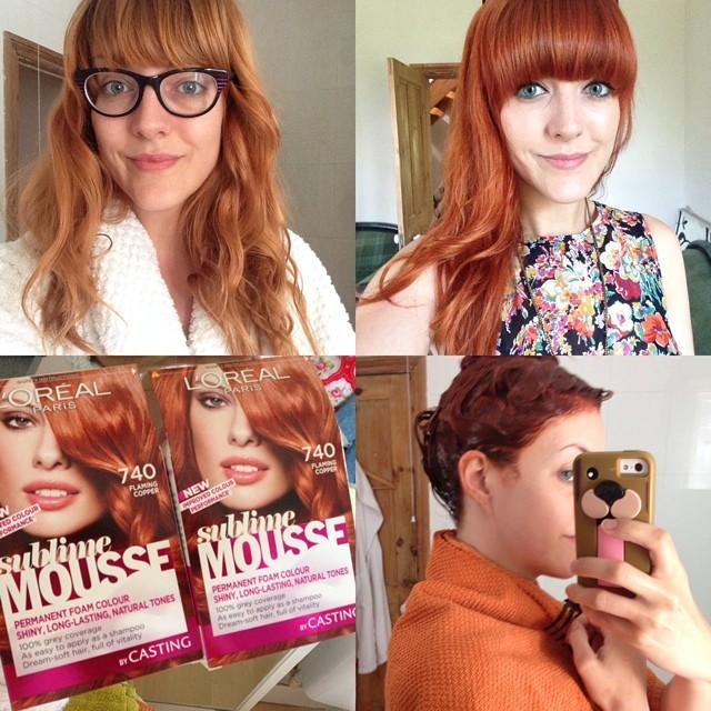 Sunday morning hair colour refresh.   I've done a before, during and after shot without a filter to show the change in colour. I have to dye it a flaming copper colour first in order for it to fade to the apricot/orangey-red colour that it goes after 1-2-weeks of washing. I use either L'Oreal Sublime Mousse in flaming copper 7.4 or Olia Intense Copper 7.4 hair dye. Both are permanent home hair colours.