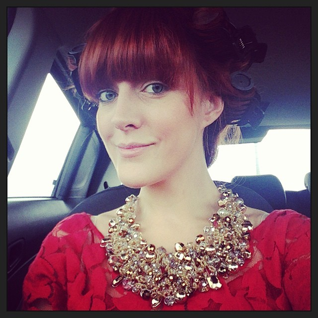 We're on our way! I've got my pretty @WishWantWear red lace dress on,  @Aldo_Shoes embellished collar necklace and my @egoprofessional rollers in. I've had to do my makeup in the car because it's such a long journey to our friend's wedding venue in Leicestershire. I'm going to be sensible and wait for the car to stop before I attempt mascara and liquid eyeliner.