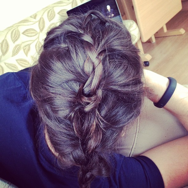 Q. When your boyfriend is watching #WWDC what do you do to amuse yourself? A. Attempt to French plait his hair! Haha! #tech
