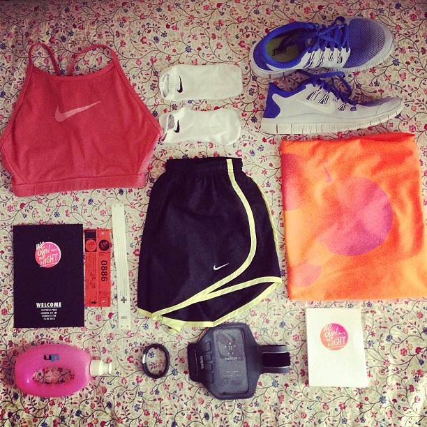 My @nikeuk @elleukrunning #weownthenight kit laid out and ready to go!