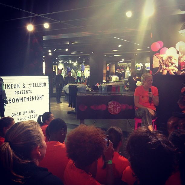 Listening to @elliegoulding being interviewed @nikeuk #weownthenight at #niketown. We're all still so sleepy this morning!