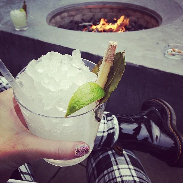 Delicious Kaffirinha cocktail @SUSHISAMBA London around the fire-pit.