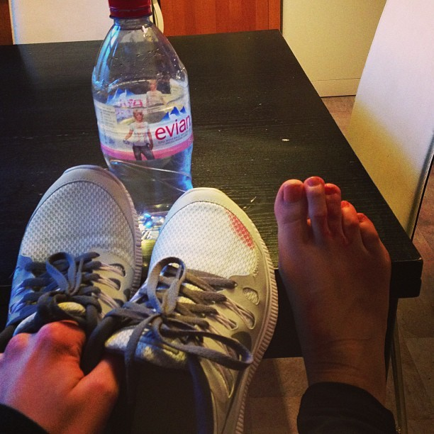 Oh shit @nikeuk! I've messed up my new #nikefree's. Note to self: make sure you've not got a sharp toenail before doing a 5km run, you will impail yourself and stain your new trainers. #balls #weownthenight #howdoigetabloodstainout? #ellerun @elleuk